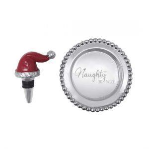 3711 Red Santa Hat Naughty Nice Wine Plate